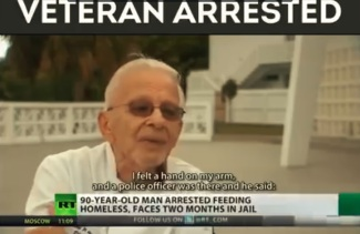 veteran feeding homeless arrested